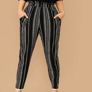 Black with white print paperbag pants